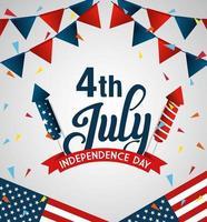 4 luglio felice giorno dell'indipendenza bandiera e ghirlande appese vettore