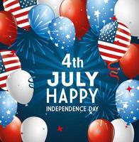 4 luglio felice giorno dell'indipendenza con palloncini vettore