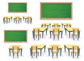insieme dell'illustrazione di progettazione di vettore dell'aula isolato su fondo bianco