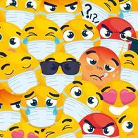 emoji che indossano maschere per il viso sfondo vettore