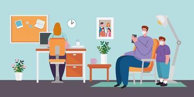 prevenzione del coronavirus da casa con la donna che lavora con la sua famiglia vettore