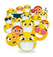 emoji che indossano maschere per il viso vettore