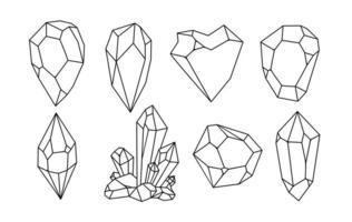 insieme di vettore di cristalli disegnati a mano bianchi