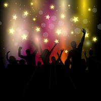 Pubblico di partito su sfondo stellato