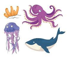 set di animali marini vettore