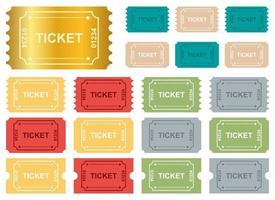 i biglietti hanno impostato il set di illustrazione di disegno vettoriale isolato su priorità bassa bianca