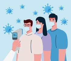 controllo della temperatura con termometro digitale a infrarossi per pandemia di coronavirus vettore