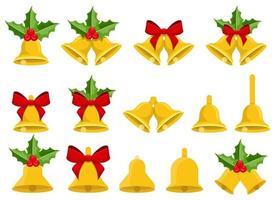 campane di Natale illustrazione vettoriale design set isolato su sfondo bianco