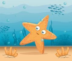 simpatica stella marina nell'oceano, abitante del mondo marino, simpatica creatura sottomarina vettore