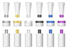 insieme dell'illustrazione di progettazione di vettore dei prodotti cosmetici isolato su fondo bianco