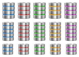 insieme dell'illustrazione di progettazione di vettore del server di dati isolato su fondo