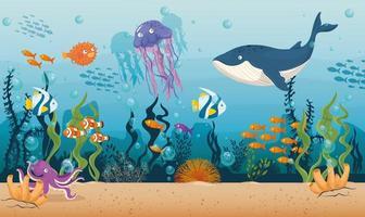 sfondo di vita di mare vettore