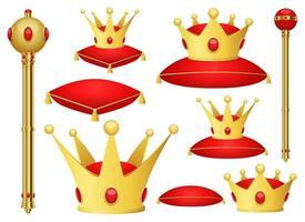 Golden King corona e scettro clipart disegno vettoriale illustrazione. re insieme. stampa clipart vettoriali