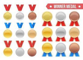 vincitore medaglia disegno vettoriale illustrazione set isolato su sfondo bianco