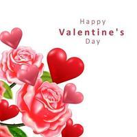 concetto di San Valentino. a forma di cuore e rosa. illustrazione vettoriale. vettore