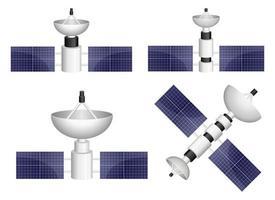 insieme dell'illustrazione di progettazione di vettore del satellite isolato su fondo bianco