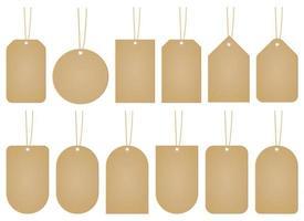 prezzo tag mockup disegno vettoriale illustrazione set isolato su sfondo bianco