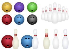 set da bowling design illustrazione vettoriale set isolato su sfondo bianco