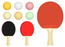 Insieme dell'illustrazione di progettazione di vettore della racchetta da ping pong isolato su fondo bianco