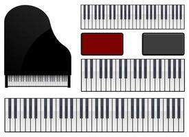 insieme dell'illustrazione di progettazione di vettore del pianoforte isolato su fondo bianco
