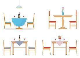 tavolo da pranzo illustrazione vettoriale design set isolato su sfondo bianco