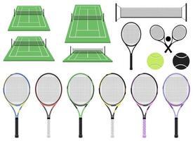 racchetta da tennis e campo vettoriale illustrazione design isolato su sfondo bianco