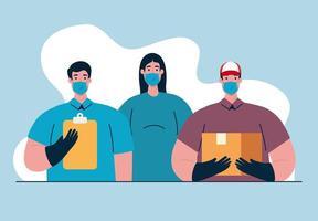 lavoratori essenziali con maschere facciali sulla pandemia di coronavirus vettore