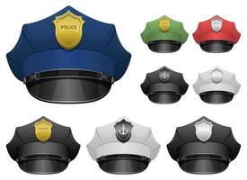 insieme dell'illustrazione di progettazione di vettore del cappello dell'ufficiale di polizia isolato su fondo bianco