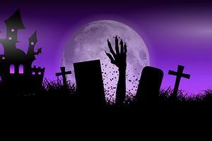 Mano di zombie nel paesaggio di Halloween vettore