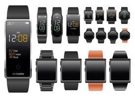 Insieme dell'illustrazione di progettazione di vettore del dispositivo smartwatch isolato su priorità bassa bianca