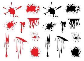 schizzi di sangue disegno vettoriale illustrazione set isolato su sfondo bianco