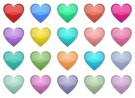 set di illustrazione di disegno vettoriale a forma di cuore isolato su sfondo bianco