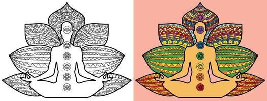 Doodle meditazione yoga pagina del libro da colorare per adulti e bambini. decorativo rotondo bianco e nero. modelli di terapia antistress orientale. groviglio zen astratto. illustrazione vettoriale di meditazione yoga.
