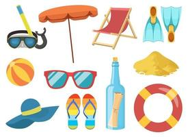 illustrazione di progettazione di vettore di clipart degli elementi della spiaggia del mare. mare, spiaggia, pallone, sedia, infradito, set ombrellone.