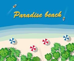 vacanze estive in hotel nell'oceano con spiaggia di sabbia bianca, bungalow e alberi vettore