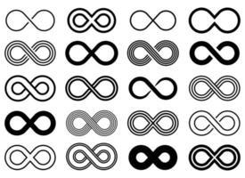 infinito icona disegno vettoriale illustrazione set isolato su sfondo bianco