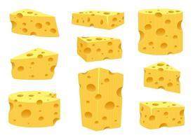 insieme dell'illustrazione di progettazione di vettore del formaggio isolato su fondo bianco