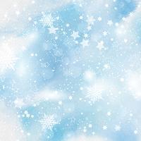 Fiocchi di neve e stelle su sfondo acquerello vettore