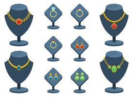 illustrazione stabilita di progettazione di vettore dei gioielli isolata su fondo bianco