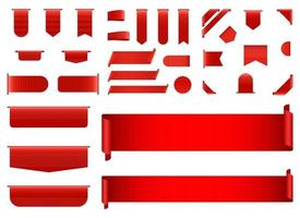 set di illustrazione vettoriale banner rosso isolato su sfondo bianco