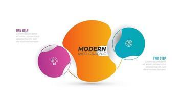modello moderno grafico di informazioni creative. concetto di affari con 2 opzioni, passaggi e icone di marketing. illustrazione vettoriale. può essere utilizzato per grafico informativo, grafico, web design. vettore
