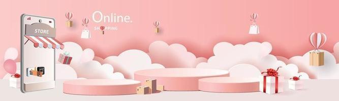 paper art shopping online su smartphone e nuovo sfondo rosa di promozione della vendita di acquisto per l'e-commerce del mercato dei banner. vettore