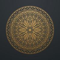 linea arte mandala astratta dorata. circolare vintage di lusso su sfondo nero. illustrazione vettoriale