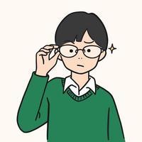 carino giovane ragazzo alzò gli occhiali, illustrazione vettoriale stile disegnato a mano.
