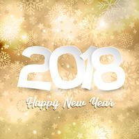 Testo del buon anno sul fondo del fiocco di neve dell'oro vettore