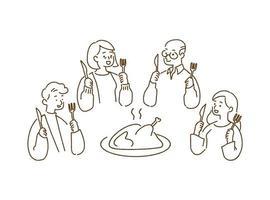 cena in famiglia felice con tacchino arrosto, concetto di ringraziamento, illustrazione vettoriale stile disegnato a mano.