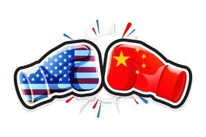 guantoni da boxe che combattono l'America contro la Cina. concetto di guerra commerciale. illustrazione vettoriale