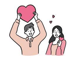 uomo e donna che tengono il cuore, concetto di coppia carina, illustrazione vettoriale stile disegnato a mano.