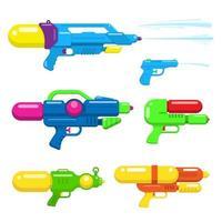 raccolta di pistole ad acqua. pistole colorate giocattolo design piatto. illustrazione vettoriale