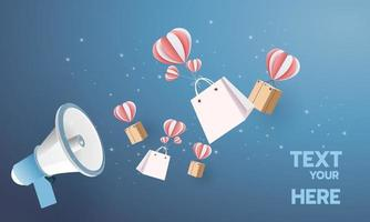 megafono carta arte moderna backgroud per annuncio business shopping vendita banner illustrazione vettoriale con testo.